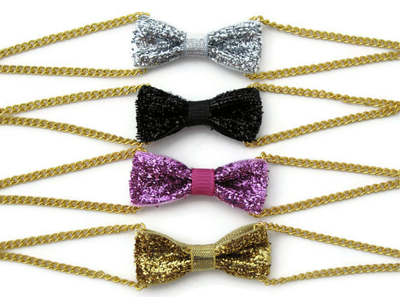 Sparkly glitter bow bracelets are perfect for the holidays and New Year's Eve