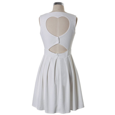 White Heart Cutout Dress