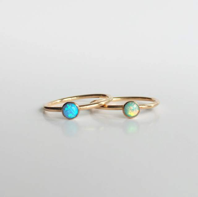 Round Gold-Filled Rings in Light Blue and Moon Teal